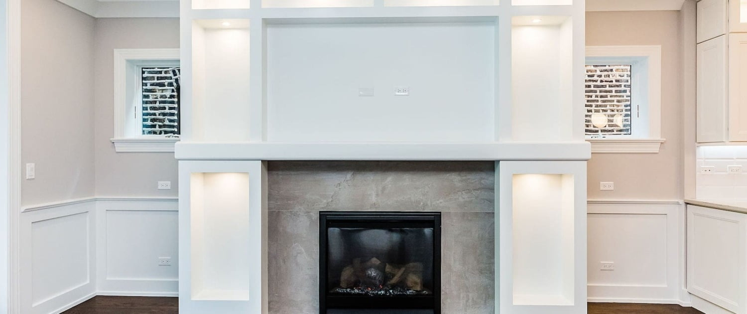 built in mantel fireplace lakeview lincoln park chicago