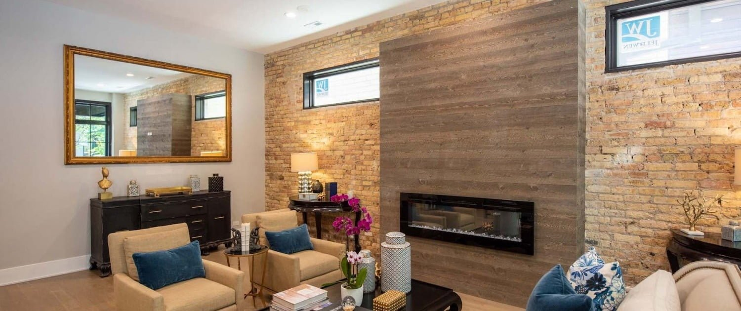 Renovated Living Room Flooring Mantel Lincoln Park Chicago