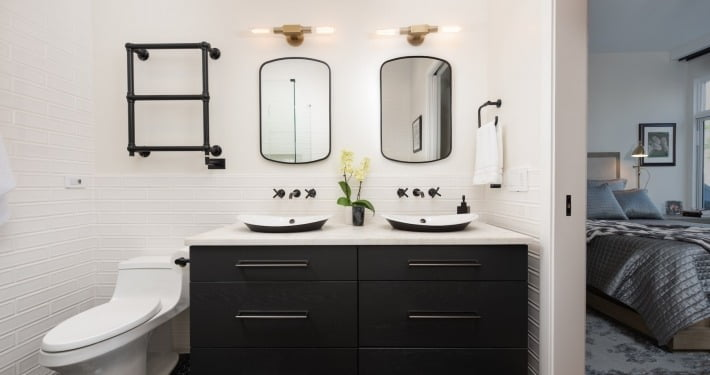 west loop chicago illinois black and white bathroom cabinetry design