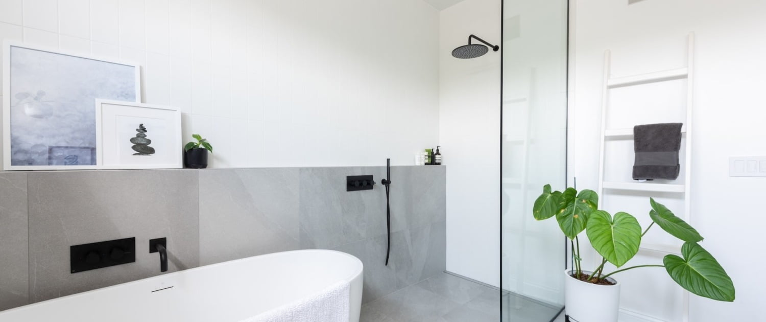 interior design build modern bathroom remodel with soaker tub and walk-in shower Chicago Illinois