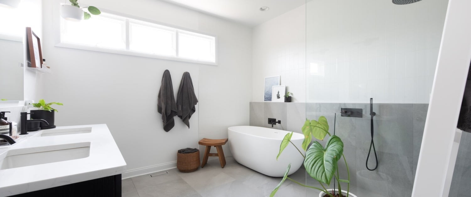 modern bathroom remodel with walk-in shower and soaker tub Chicago il